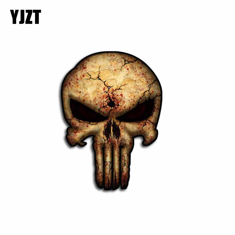 YJZT 8.6CM*11.6CM Car USA Army Sniper Military Car Sticker Punisher Skull Funny PVC Decal 6-0072