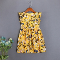 children cotton yellow holiday beach dress family look sister matching outfits mommy and me girls mother daughter Summer dresses