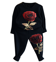 2016 Autumn Children Clothing Long Sleeve Shirts Pants With Sequin Rose Flowers Fashion Baby Sport Suit