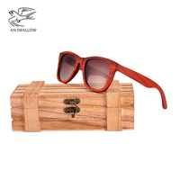 AN SWALLOW New Red Wood Wood Sunglasses Women Wooden glasses for Ladies With Bamboo Box red wood sunglasses women UV400 QB3040