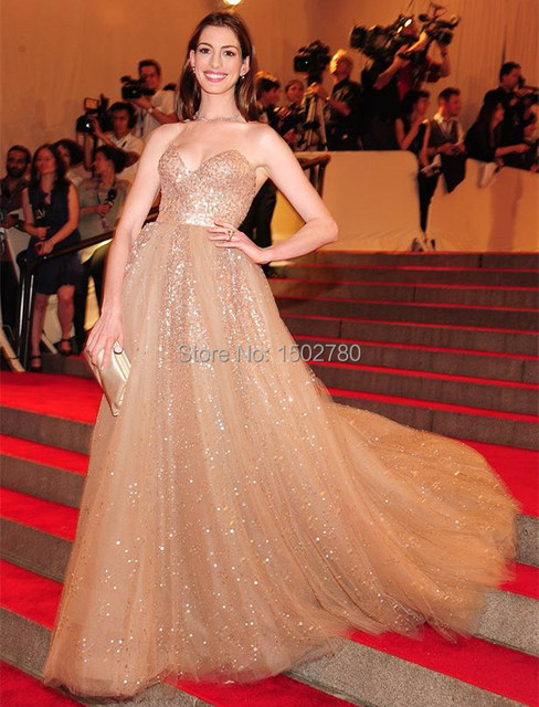 Met Gala Anne Hathaway Champagne Evening Dress With Sequins Empire Ball  Gown Red Carpet Dresses a4321acee3d0