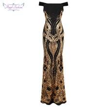 Engel fashions Formale Abendkleider Funkelnden Gold Kunst Deco Pailletten Vintage Urlaub Partei Kleid 407 404