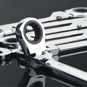 Image 3 - Gratis Schip 1Pc 6 32Mm Crv Flexibele Ratelsleutel Combinatie Hoofd Moersleutel Verstelbare Handgereedschap Voor Auto