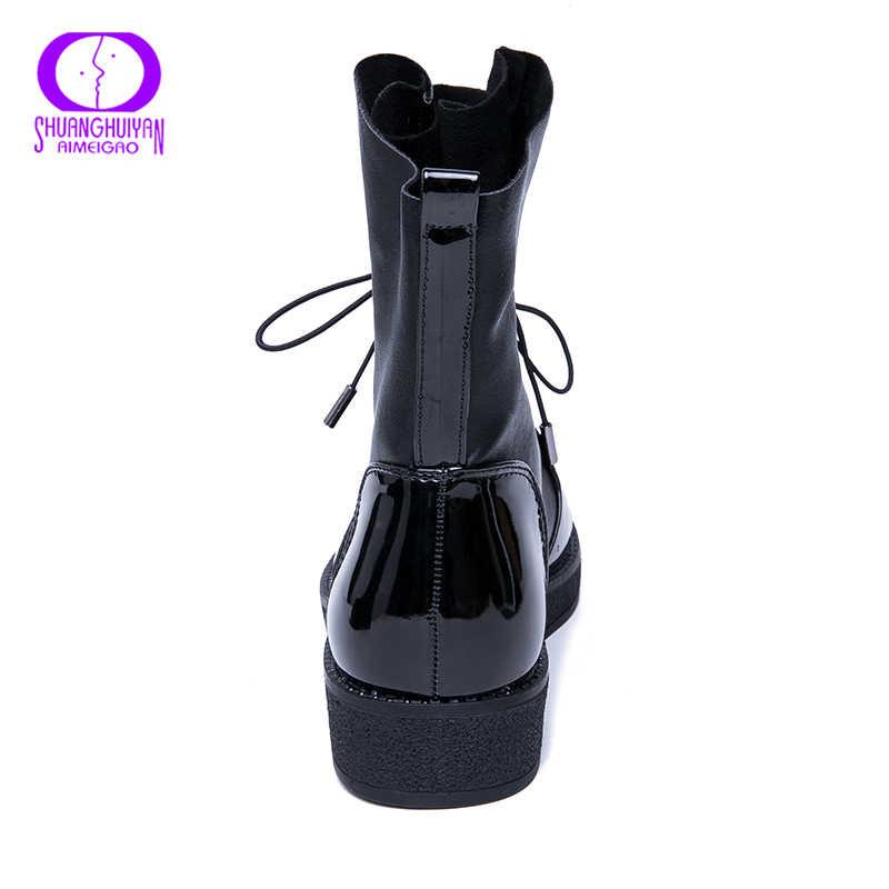 AIMEIGAO moda İlkbahar sonbahar kadın çizmeler Patent PU deri platformu kadın ayakkabı artı boyutu çizmeler Botas Mujer