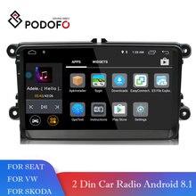 Podofo Android 8,1 автомобильный мультимедийный плеер gps навигации 2 Din 9 «ips HD Радио стерео wi fi USB CANBUS RDS для VW/мужские поло авто