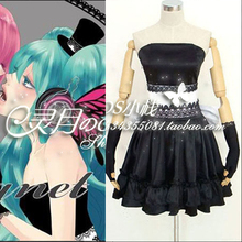 Nuevo imán vocaloid anime cosplay hatsune miku halloween party dress negro backless sexy vestidos