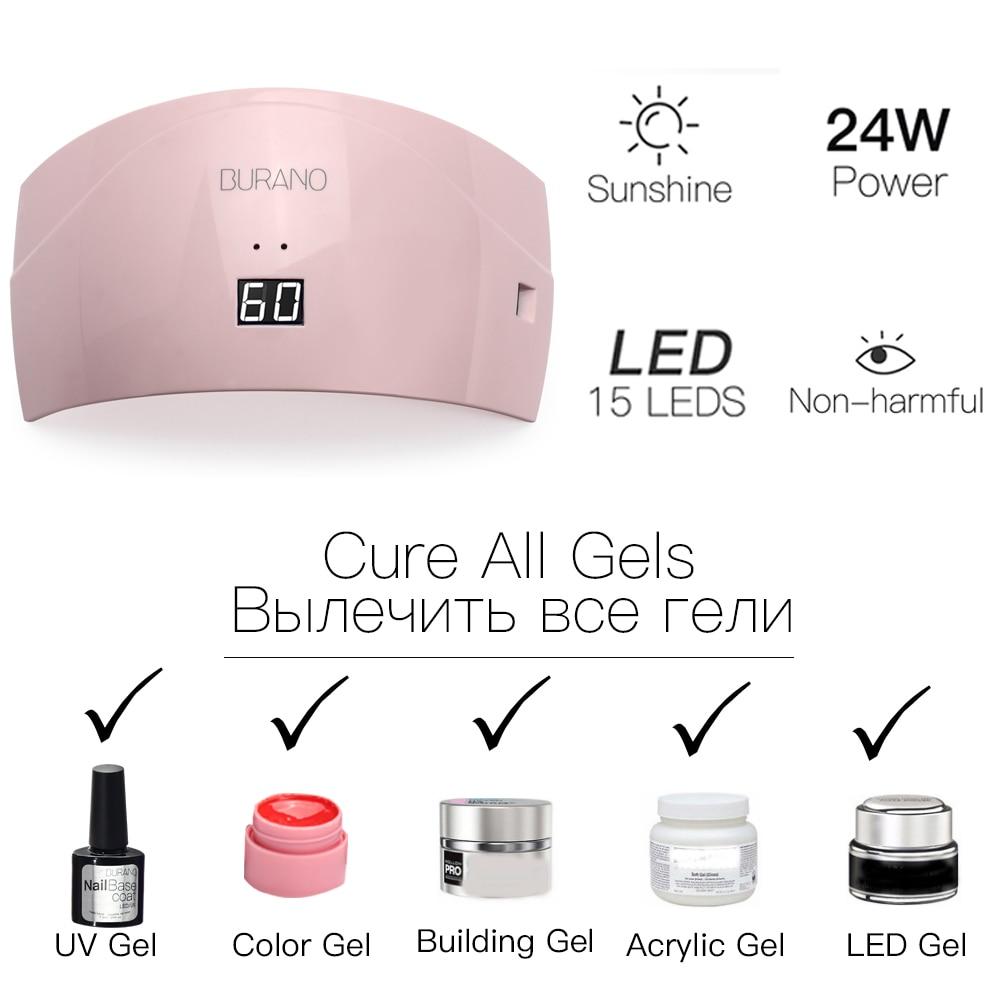BURANO UV/LED lamp manicure set Nail Art UV Gel Kits sets Tools Brush Tips Glue Acrylic Powder Set 004 - 4