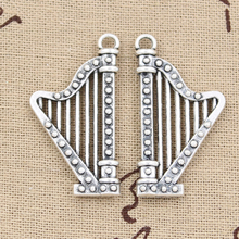 Harp Musical Note Antique Silver Charms 2Pcs