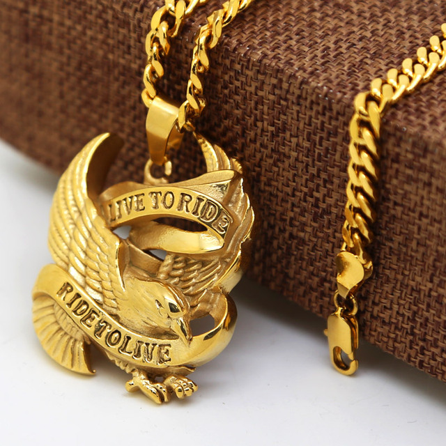17a22080ff9 24K GOLD PLATED Live to Ride Eagle Spirit Pendant FREE NECKLACE Biker  Harley men Hiphop Necklace cube chain