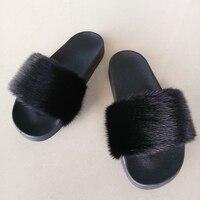 Women mink slippers Woman Flip Flops
