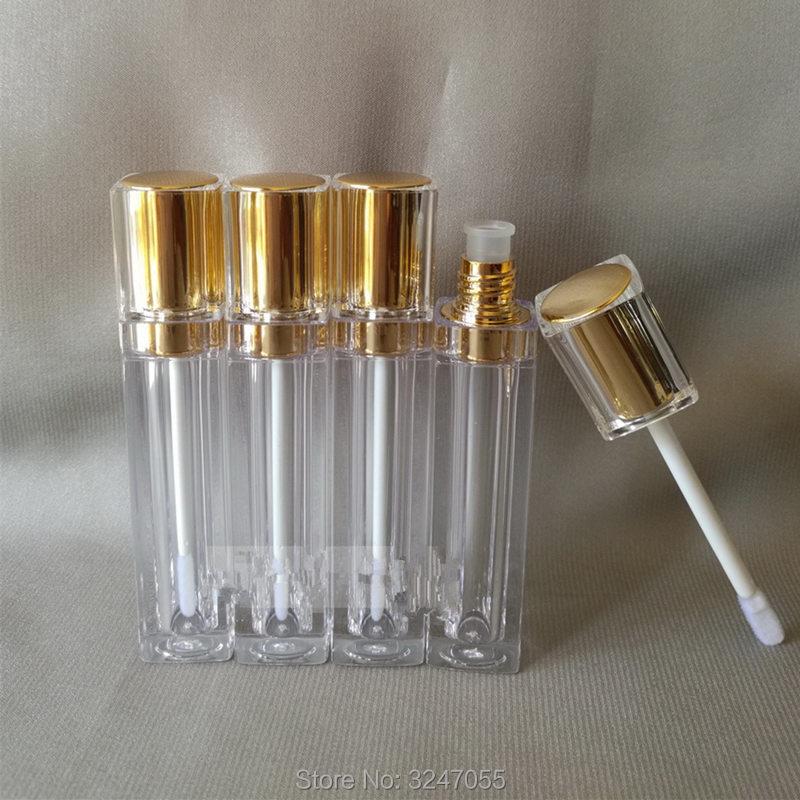 8ML 40pcs lot High Grade Cosmetic Lip Gloss Bottle Elegant Gold Square Plastic Lipstick Refillable Tube