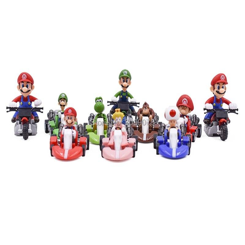 10Pcs/Set Super Mario Bros Figures 3.5-5cm Japan Anime Luigi Dinosaurs Donkey Kong Bowser Kart Pull Back Car Pvc Figma Kids Toys
