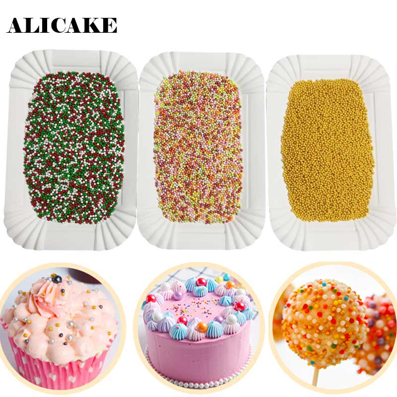 20G 2mm Sugar Pearl Edible Gold Cake Ball Multicolor Christmas Color Sugar  Sprinkles Cake Decoration Baking Pastry Tools