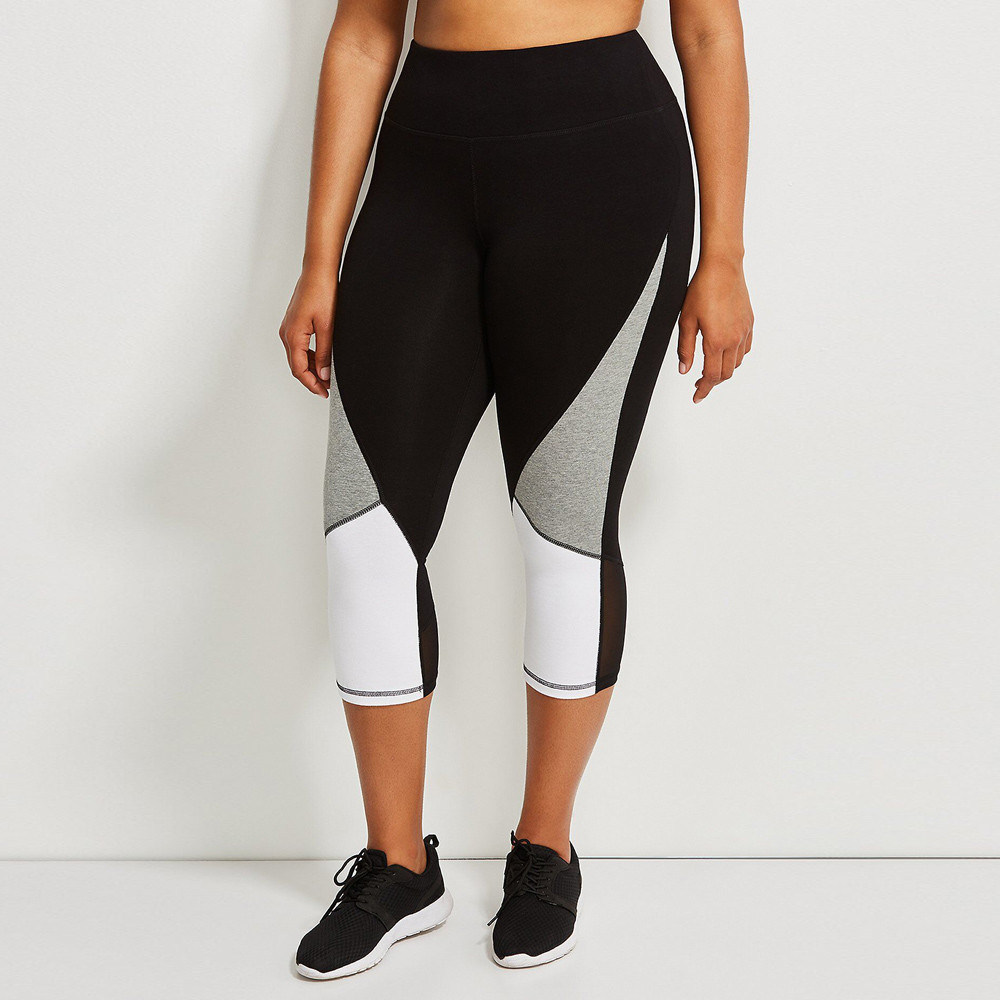 Women Plus size Sportswear Hit Color Splice Ladies Female Sports Workout Running Fitness Elastic Leggings Pencil track Pants