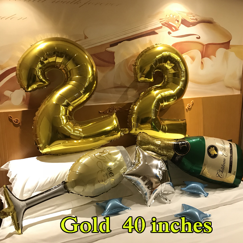 Wholesale Helium Big Digit 40Rose Gold Balloons Pink Red Foil Number Balloon Birthday 40 Inch 32 Figure Ballon 10 Years