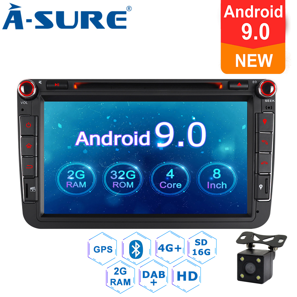 A-sure 2 Din Android 9.0 autoradio GPS DVD Navi pour Volkswagen VW GOLF MK5 MK6 PASSAT B6 TOURAN Polo Tiguan SEAT SKODA