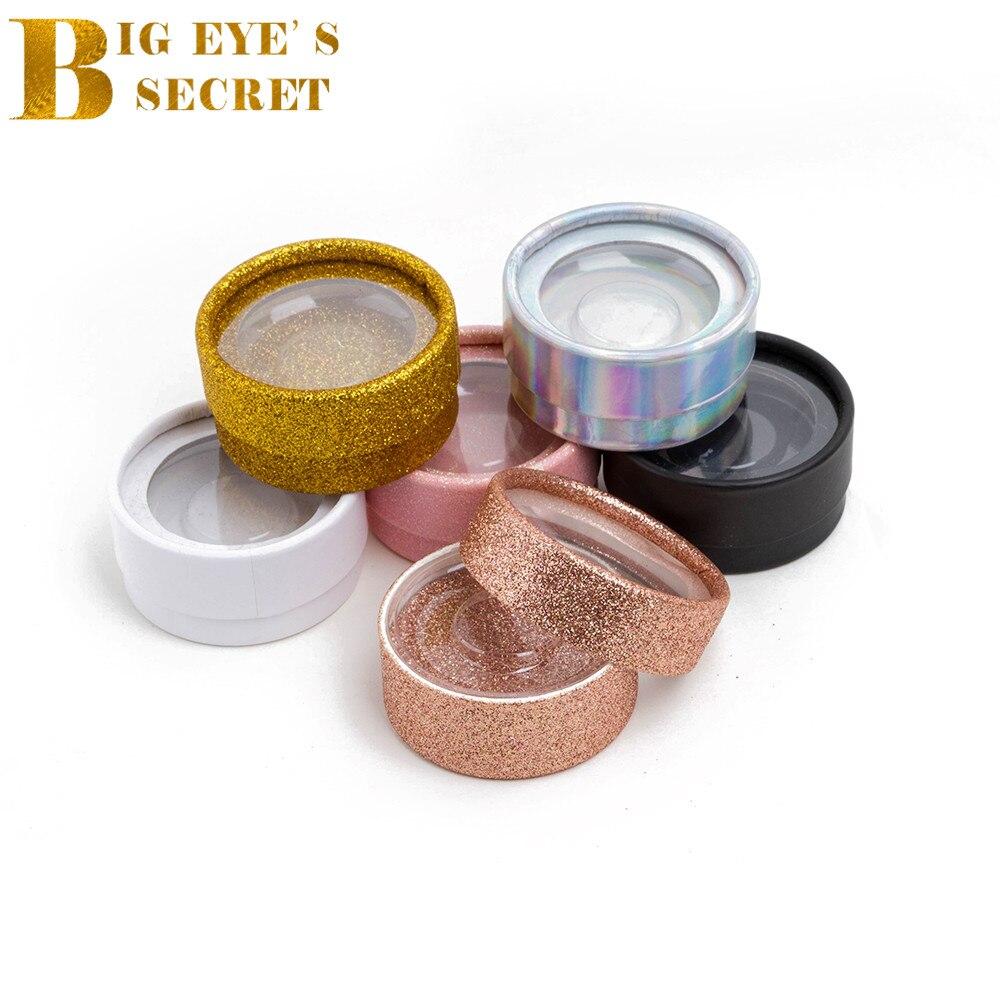 Glitter 10pcs Empty Mink Lash Box Handmde 3D Eyelash Extension Put Logo Boxes With Plastic Tray Round Shiny Lashes
