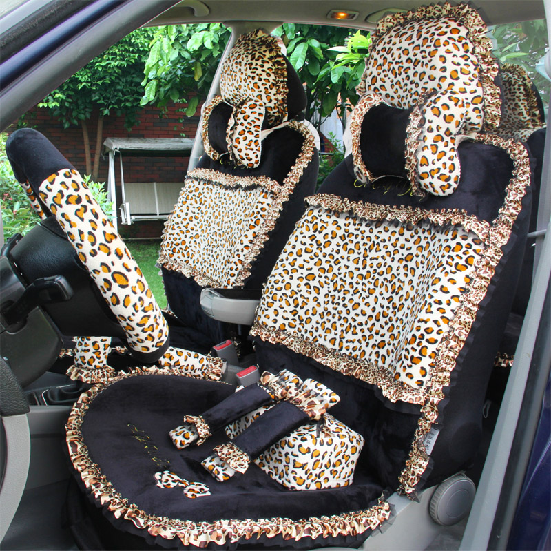 Leopard Print Lace Car Seat Covers Universal Short Plush Winter Auto Seat Covers Sets for Women