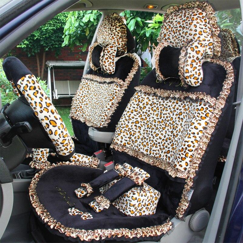 Imprimé léopard dentelle housses de siège de voiture universel court en peluche hiver Auto housses de siège ensembles pour femmes accessoires d'intérieur 19 pièces