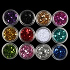 12 Colors Iridescent Sequins Nail Glitter Set 3D PVC Nail Powder Dust Women Nail Art Decorations DIY Manicure Tools WY640