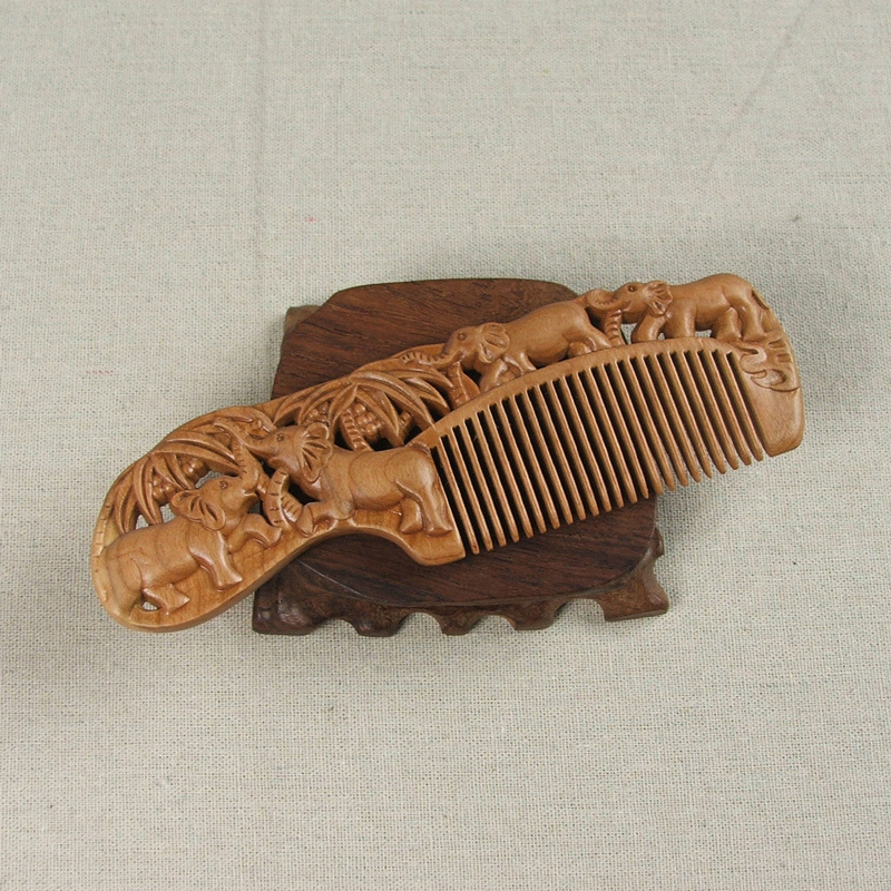 Magic Hair Comb Vintage Wooden Hollow Out Handmade Natural Peach Sweet Combs Styling Tools