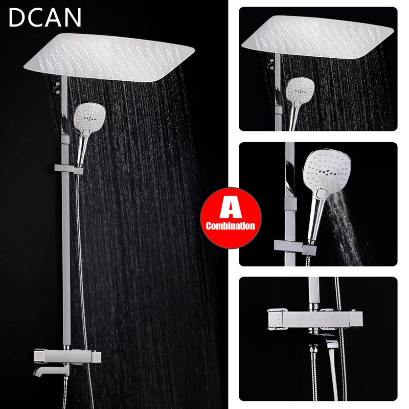 Bathroom Luxury Rain Mixer Shower Combo Set Wall Mounted Rainfall Shower Head System Chrome Exposed Shower