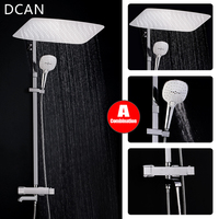 Bathroom Luxury Rain Mixer Shower Combo Set Wall Mounted Rainfall Shower Head System Chrome Exposed Shower faucet Mixer Tap Set