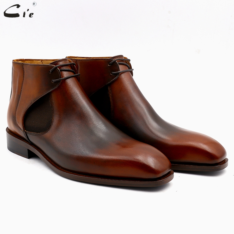 cie square plain toe full grain genuine calf leather boot patina brown handmade leather lacing chelsea