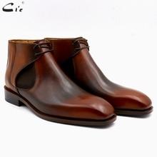 cie square plain toe full grain genuine calf leather boot patina brown handmade lacing chelsea ankle boots men scarpeA05