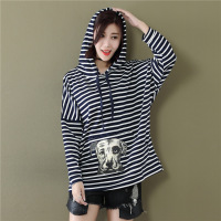 Women Strip Cotton Blusas Tops 2017 Autumn Ladies Loose Batwing Sleeve Hooded Pullover Casual Loose Blouse