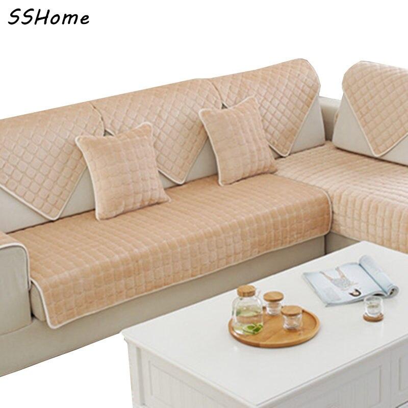 Slip Resistant Plush Sofa Cushion Thick Flannel Sofa Fabric Cushions Winter Fashion Slip Towel