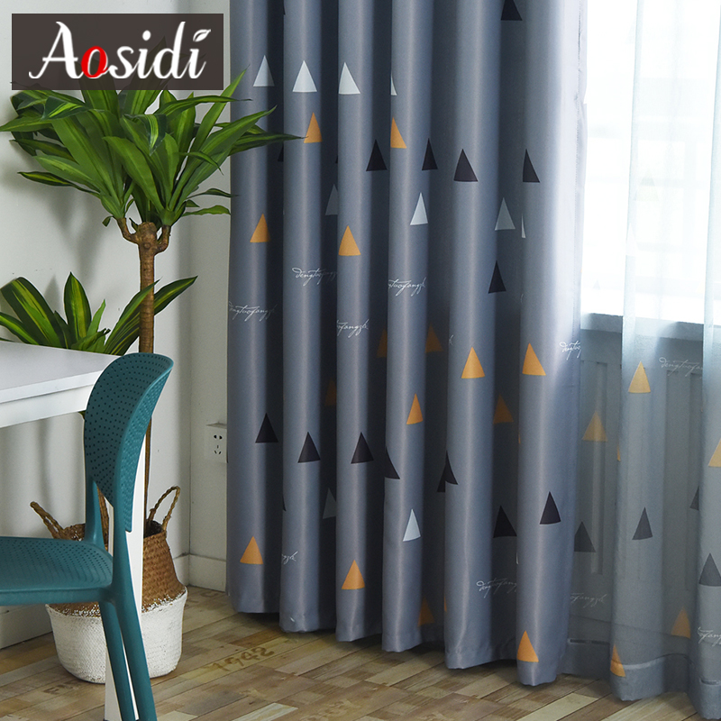 Triangular Pattern Blackout Curtains For Bedroom Living Room Modern Gray Curtain Kid's Room Tulle And Curtain Cortina Para Sala