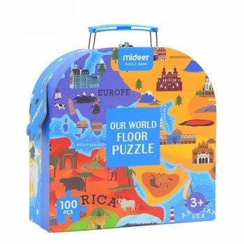 Enfants cognitif couture carte 40*76CM 100 pièces liège carte du monde humain géographie carte noël anniversaire cadeau boîte pour les enfants