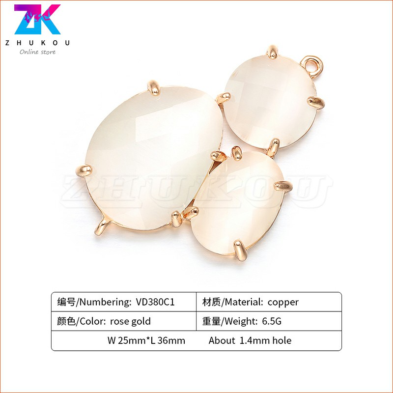 ZHUKOU 25x36mm High quality triplet connectors for ladies fashion handmade bracelets and necklaces model VD380 in Charms from Jewelry Accessories