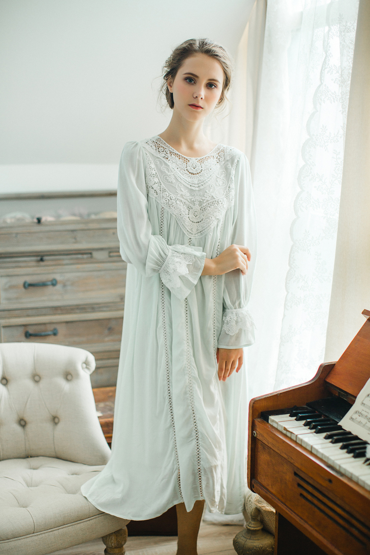 73e6233bb0 New Long Cotton Nightgown Princess Sleep Lounge Pregnant Women Home Dress  Sleepshirts Female Nightdress Vintage Camisao CC590