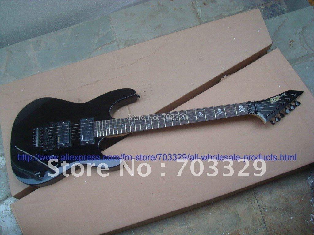 Free shipping ES P black MII guitar EMG pickup skull fret inlay Floyd Rose Tremolo Bridges eBay OUJIA bolt on neck made in japan