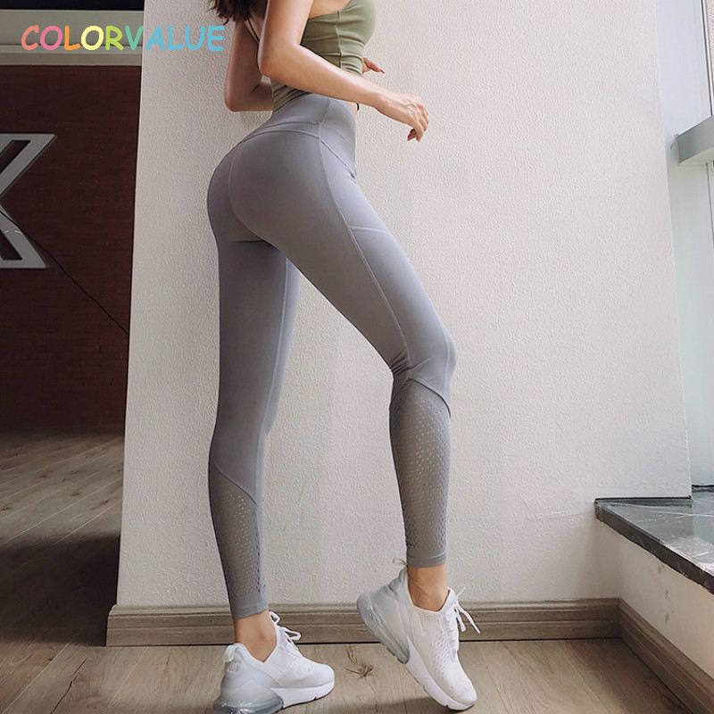 Colorvalue Side Pocket Gym Fitness Leggings Women Breathable Mesh Trainning Sport Tights Hips Up High Waist Yoga Workout Pants pocket side elastic waist pants