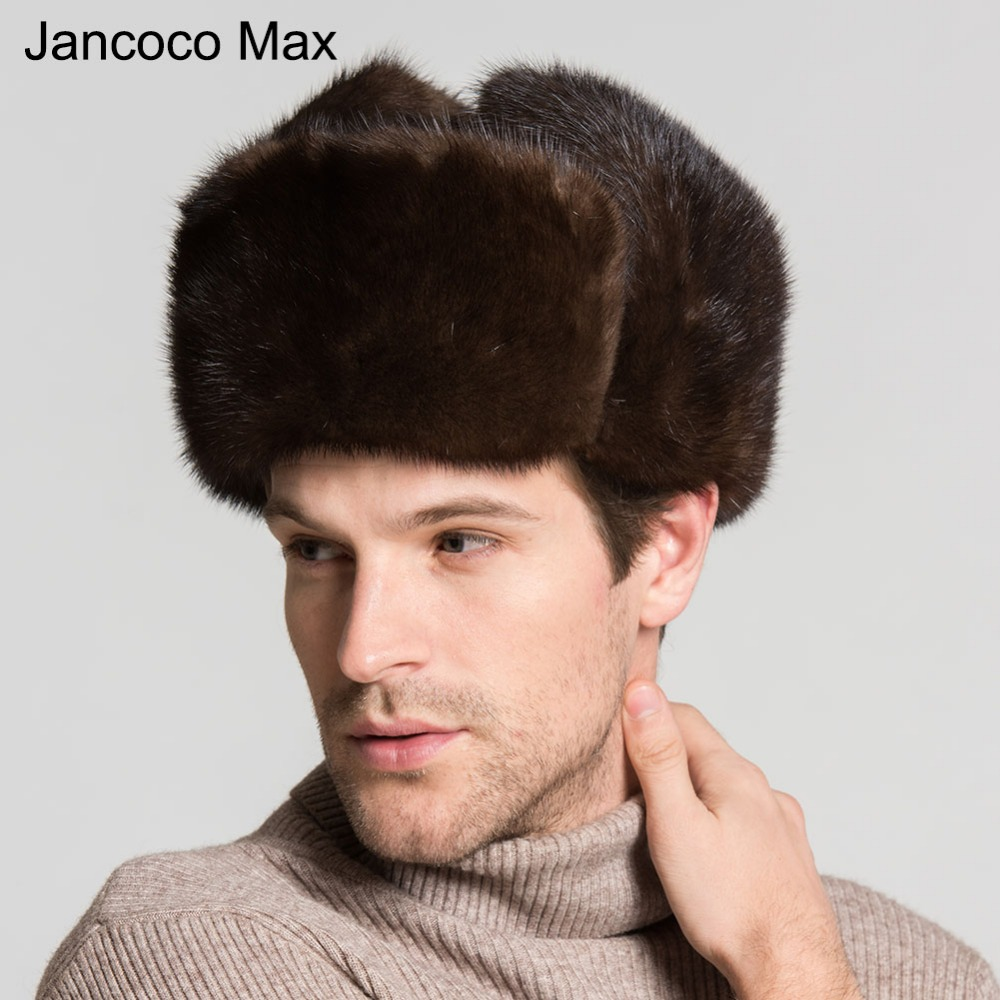 Jancoco Max 2018 New Genuine Mink Fur Hats With Real Sheepskin Leather Winter Warm Casual Style Caps For Men S3074 jancoco max new spring genuine soft cowhide leather men baseball caps autumn winter fashion solid army hats s3062