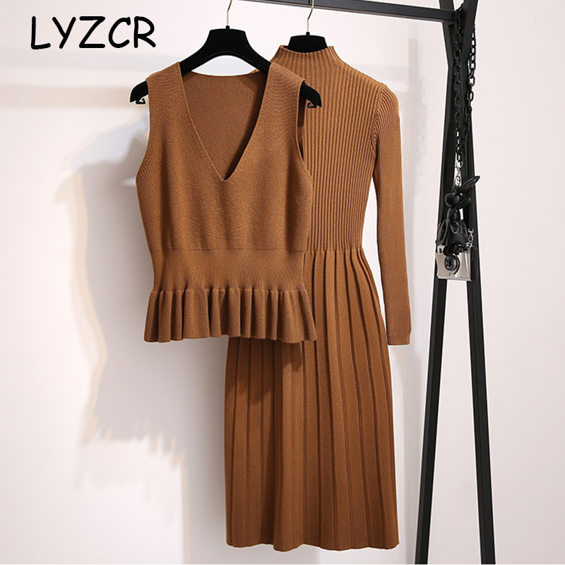 Winter Women Sweater Knitted Dress Slim Ladies Dresses For Women Green Blue Winter 2 Piece Set Sweater Dress And Knitted Vest