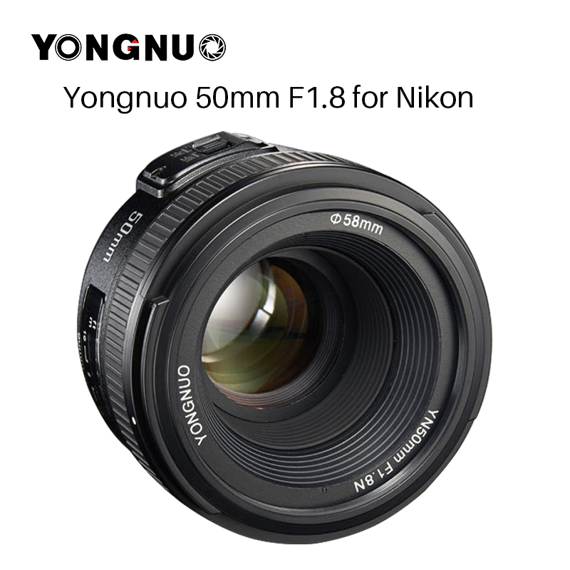 YONGNUO YN50MM F1.8 Camera Lens pour Nikon D800 D300 D700 D3200 D3300 D5100 D5200 D5300 Grande Ouverture AF MF DSLR camera Lens