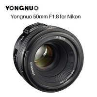 YONGNUO YN50MM F1.8 objectif de caméra pour Nikon D800 D300 D700 D3200 D3300 D5100 D5200 D5300 objectif de caméra DSLR AF MF à grande ouverture