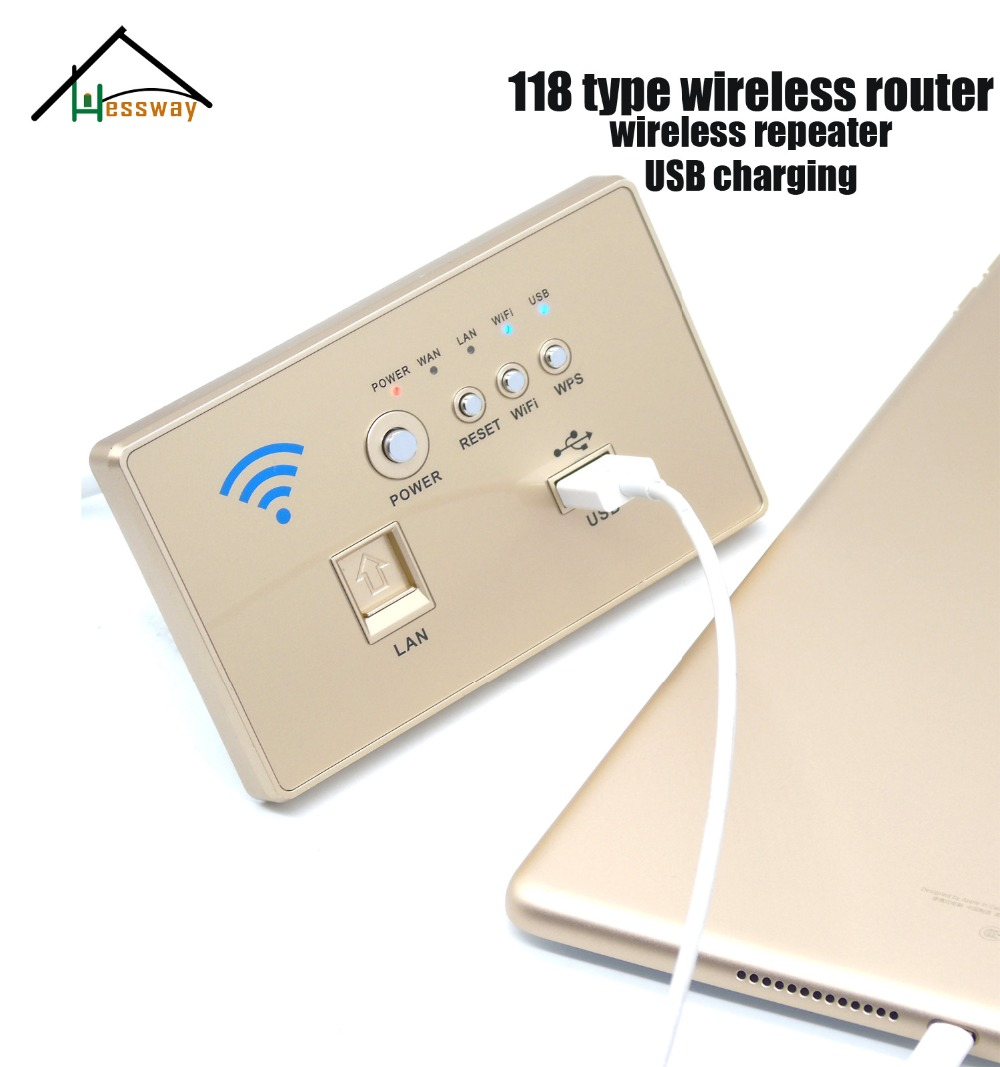 HESSWAY 118 standard hotels in the wall panel AP wireless router wifi 3G usb switch socket 118 standard wifi router wall with 300 mbps