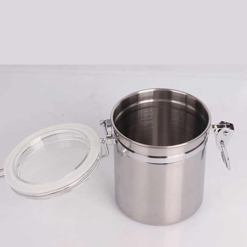 Airproof Pot Silver Stainless Steel Tobacco Can Humidor Humidifier Seal Moisture for Weed Herb Smoke Hookah Grinder