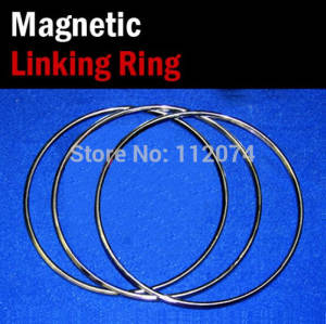 Magic Tricks Comedy Magnetic Stage-Illusion Linking-Ring Gimmick-Prop 3-Rings-Set Dia--31cm