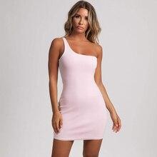 2019 new one-shoulder womens dress sleek minimalist wild sexy beige pink brown black