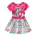 Girls Flower Dress Summer 2016 Floral Print My Kids Little Pony Dresses Cute Frocks For Children 3-8 Years GD08