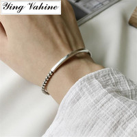 Authentic 925 Sterling Silver Jewelry Vintage Twisted Open Bangles for Women