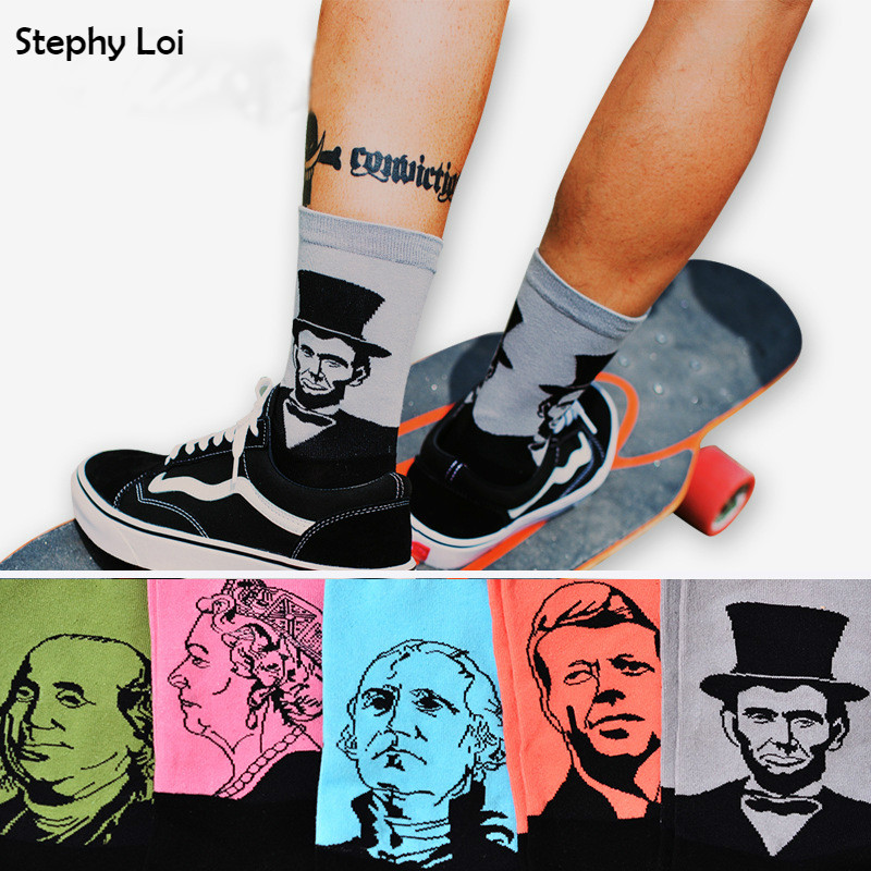 Nye menn Crew Cotton Art Printed Socks of Famous Celebrity Portrait Mønster Harajuku Design Sox Calcetine Novelty Funny Winter