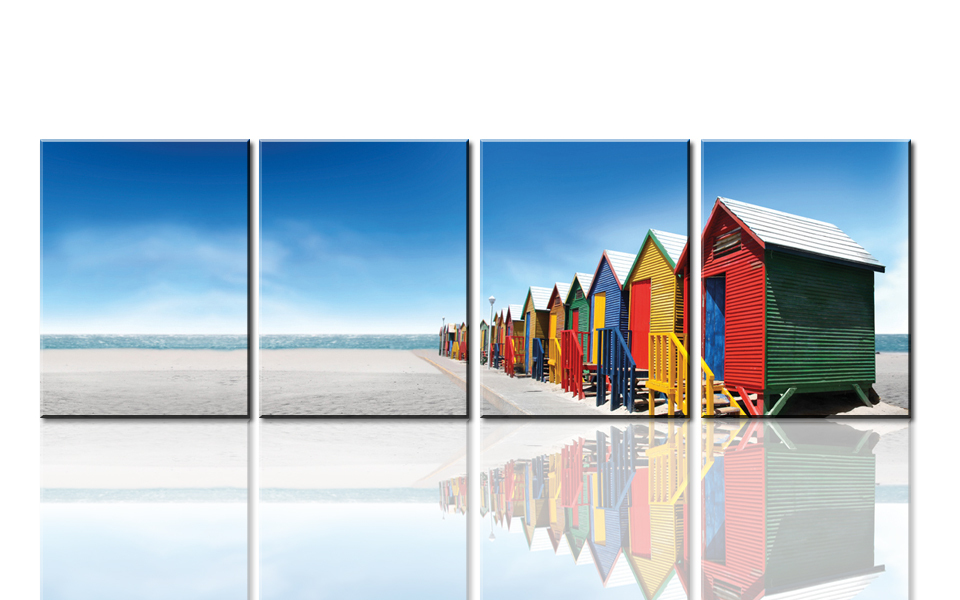 4Panel Canvas Print for Home Decoration,Beautiful beaches Picture Print Painting with Frame, Cheap Wholesale Wall Art S729