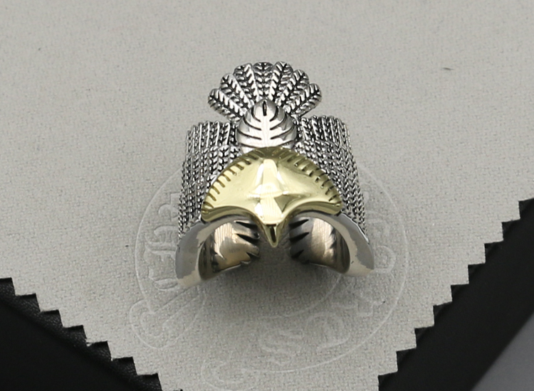 Handmade Feather Gold Point Eagle Ring Male Index finger s925 sterling silver tail ring Thai silver ring